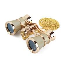 AOMEKIE 3X25 Opera Glasses Binoculars Metal Body Chain/Handle Optical Lens Theater Telescope Retro Design Women Girls Gift