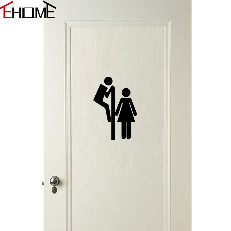 EHOME Toilet Door Stickers Decoration Vinyl Adhesive Wall Stickers Home Decor Bathtoom Decals Waterproof(China (Mainland))