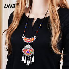 2017 Bohemian Ethnic Embroidery Necklace Embroidered Big Flower Charm Choker Statement Necklaces Indian Jewelry For Women Gift(China)