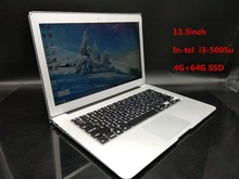 Free Shipping Flashlight keyboard 13.3 Inch Ultrabook Laptop Aluminum Metal Case I3 1.4Ghz  4GB/ 64GB SSD 7000mAh USB3.0