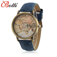 YBotti Fashion Global Travel By Plane Map Men Women Watches Casual Denim Quartz Watch Casual Sports Watches Men relogio feminino