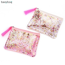 Bentoy Brand tassels women clutch bag summer jelly bag sequins purse pvc transparent envelope bag girls small pouch(China)