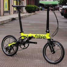 "Fnhon Ant Aluminum Folding Bike 14"" to 16"" Mini velo Bike Urban Commuter Bicycle V Brake Foldable 3 Speed Fluorescent yellow(China (Mainland))"