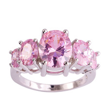 lingmei Wholesale Cocktail 8*10mm New Lady Pink CZ Silver Ring Size 6 7 8 9 10 11 12 13 Engagement Wedding Jewelry Free Ship