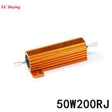 RX24 50W 200R Metal Aluminum Case High Power Resistor Heat Sink Gold Metal Shell Case Resistor 200 OHM