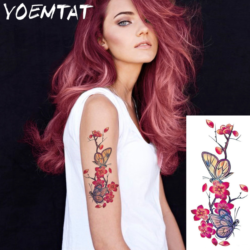 25 style flower arm shoulder tattoo stickers flash henna tattoo fake waterproof temporary tattoos sticker women 21