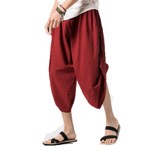 2018 Summer Mens Pants Cotton Linen Calf-length Pants Fashion Supper Loose Hip Hop Cross-pants Personality Male Japan Harajuku(China)