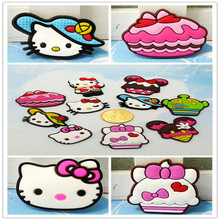 Top selling 100pcs Cartoon Q Hello Kitty Lovely Soft Decoration Accessories Flat PVC DIY Gadgets Fit Bracelets,Shoe Charms