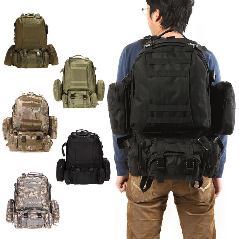 55L Large Outdoor Military Tactical Backpack Rucksacks Camouflage Unisex Camping Hiking Hunting Sports Bags Packs bolsa<br>