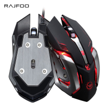 RAJFOO Gaming Mouse Ajustable 3200DPI 6 Buttons Optical Macro Programming USB Game Mouse Gamer 4 Color Breathing Variable Lights