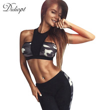 Didiopt Fitness Camouflage Print Tracksuit for Women Sportswear Crop Top and Women Pants 2 piece Yoga Set Women Activity Suit(China)