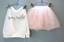 2pcs Baby Kids Girls Clothes Flower Party Long Sleeve Letter Printed T-shirt Tops +Tulle Skirt Outfits Set Gown Fancy Dresses