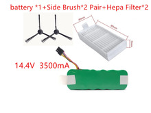 NI-MH 14.4V 3500mAh vacuum Cleaner for  Dibea panda X500 X580 battery *1+Side Brush*2 Pair+Hepa Filter*2Ecovacs Mirror CR120