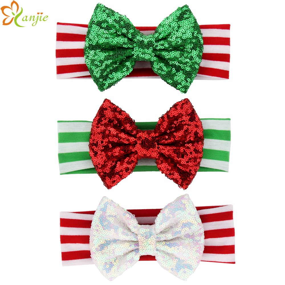 "15pcs/lot Christmas 5"" Big Messy Bow Striped Elastic Cotton Headband Hair Accessories Festival Children Accessories Celebration(China)"