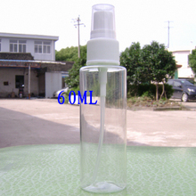 60cc wholesale 50pcs flat shoulder plastic spray bottle for cosmetic , clear 60ml empty PET perfume spray bottle points(China)