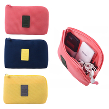 New travel storage bag for digital data cable charger headphone portable mesh sponge bag power bank holder cosmetic bag