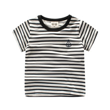Kids Boy Girls Summer Cotton Short Sleeve Stripe Printing T-shirts Tshirt Tops Clothes Children Casual t shirts Tee Top Custome