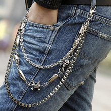 Hot Sell Metal Men Biker Pants Chain,Skull Bullet Multilayer Waist Chain Male Belly Chain,Fashion Men Jewelry Pants Accessories