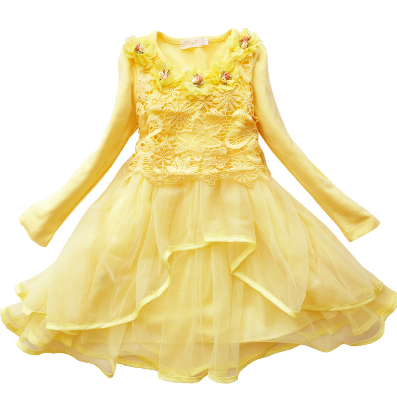 Hot sale new autumn spring girls clothes 1-2 flower neck yellow baby dress kids pearl<br><br>Aliexpress
