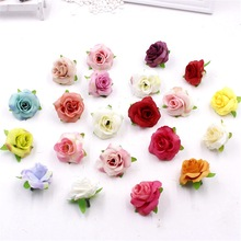 30pcs Fresh and artificial flowers small tea bud Simulation small tea rose silk flower decoration flower head DIY accessories