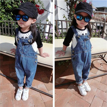2017 New Arrival Summer Girls Boys Denim Overalls Button Fly Overalls for Girls Boys Solid Blue Children Jumpsuit Overalls Ov003(China)