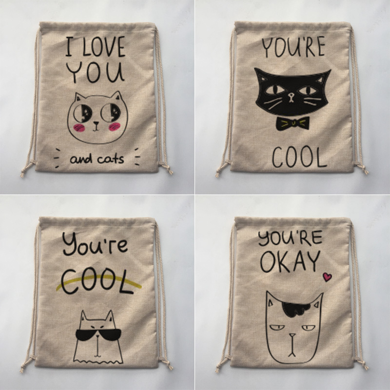cool cat style Storage Bag Home Travel Outdoor Hiking Camping Shoe Bag Clothing Organizer Drawstring Backpack(China (Mainland))