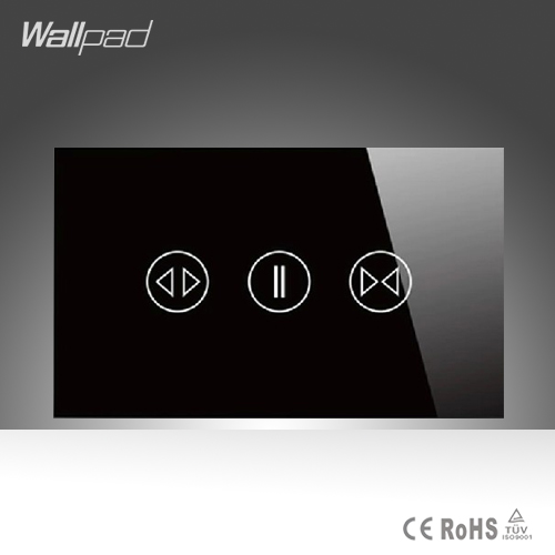 Wallpad AU US 110-240V 0W-100W Black Crystal Glass Touch Curtain Open Close Switch Touch control Blind Switch Free Shipping<br>