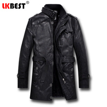 LKBEST 2017 New men leather jacket long PU pilot winter jacket BLACK wool liner Men's Motorcycle jacket brand clothing (PY11)