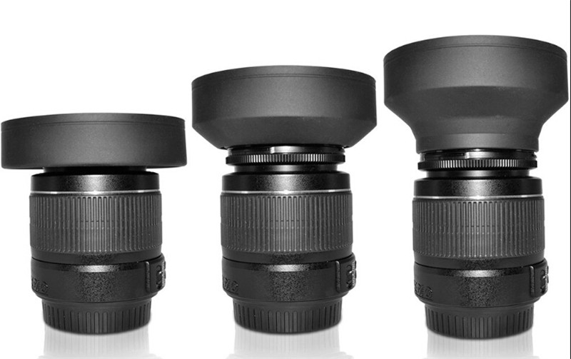 49mm - 77mm 62mm 3 Stage Collapsible Rubber Lens Hood for Canon Nikon Sony Sigma Pentax Camera DSLR canon 100d hoya sj4000d7100 2