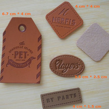 Custom your logo pu leather embossed fonts pants label brown swing hang tag clothing 4 cm * 4 cm(China)