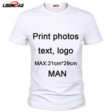 New Summer 2016 photo text logo Custom T Shirt Men Clothing moder Short Sleeve Printed Custom T-shirt DIY Design Tee Shirts(China)