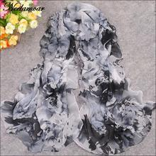 new 2017 spring and summer chiffon georgette scarf shawl women thin long peony flower leaves pattern scarves stoles wholesale(China)