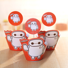 Baymax cupcake wrappers&toppers picks decoration kids Big Hero 6 birthday party favors supplies(12pcs wraps+12 toppers)