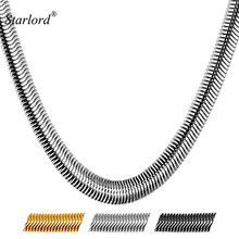Starlord 8MM Big Chunky Necklaces New Men Jewelry 316L Stainless Steel Black Gun/ Gold Color Long Snake Necklace GN2238(China)