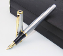 BAOER 388 Classic Stainless steel Business medium Nib Fountain Pen new Silver Golden Trim M Nib(China)