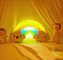 New 1pc/Lot Battery Powered LED Colorful Rainbow Wall Sticker Night Light Baby Bedside Lamp Sound Sensor Lamp
