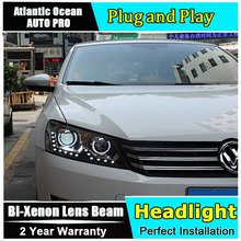 AUTO PRO 2011-2015 For vw passat B7 headlights 15 LED DRL Double U Angel Eye DRL car styling H7 Bi-xenon Double lens parking lig