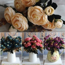 Sale Artificial Silk Fake Tea Rose Flowers Leaf Peony Floral Bouquet Home Wedding Party Decor Hot Sale