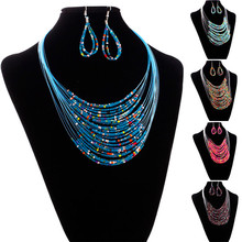 2017 New Fashion Jewelry Multicolor Multi-layer Resin Beads Necklaces and Drop  Earrings Set  Jewelry Sets