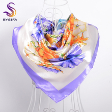 [BYSIFA] Winter Wild Daisy Square Scarves Wraps Fashion Luxury Silky Satin Silk Scarf Bufanda Autumn Muslim Women Head Scarf(China)