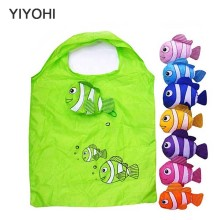 YIYOHI Simulation fish New printing foldable green shopping bag Tote Folding pouch handbag Convenient Large-capacity storage bag(China)