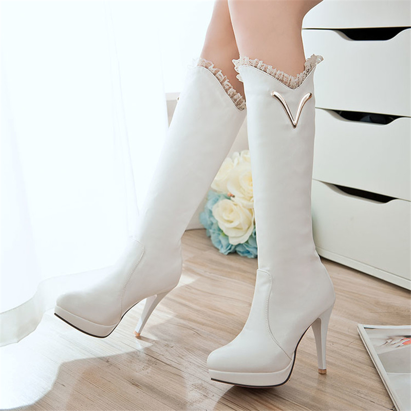 New Winter Women Girls Black White Lacing Side Zipper Round Head Knight Boots Knee High Boot Heel High Shoes US4.5-10.5<br><br>Aliexpress