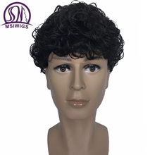 MSIWIGS Curly Men's Synthetic Wigs Natural Male Afro Black Short Wig for Men High Temperature Fiber(China)