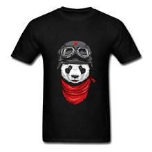 Custom Tee Shirts Crew Neck Men Short Printing Motorcycle Touring Panda Bear Shirt(China)