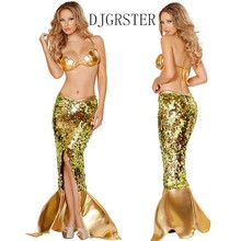 DJGRSTER Women Mermaid Costumes Halloween Cosplay Dress Romantic Sequins Dress Sea Maid Sexy PU Dresses +Gold Bra Woman Cosplay
