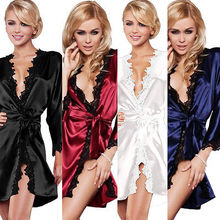 Satin Lace Dressing Gown Wedding Bride Bridesmaid Floral Robe Lingerie Pajamas(China)