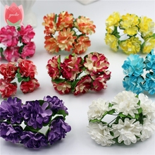 12pcs/lot 3cm Valentine Gift MIni Artificial Paper Rose Flowers Bouquet Wedding Decor Handmade Scrapbooking Craft Supplies