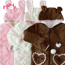 Perfect Look Women Cute Hoody Sweatshirts Lolita & Princess Style Lovely Bear Modelling Flannel Fleece Warm Hoodies For Girls