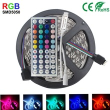 5M 10M IP65 waterproof rgb led strip light 5050 smd flexible led strip dc12V 150led 5M RGB led rope +44key IR remote controller