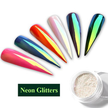 Neon Glitter Unicorn Magic Mirror Nail Powder 0.2g Ultra-thin Mermaid Aurora Chrome Pigment Manicure DIY Nail Art Decorations(China)